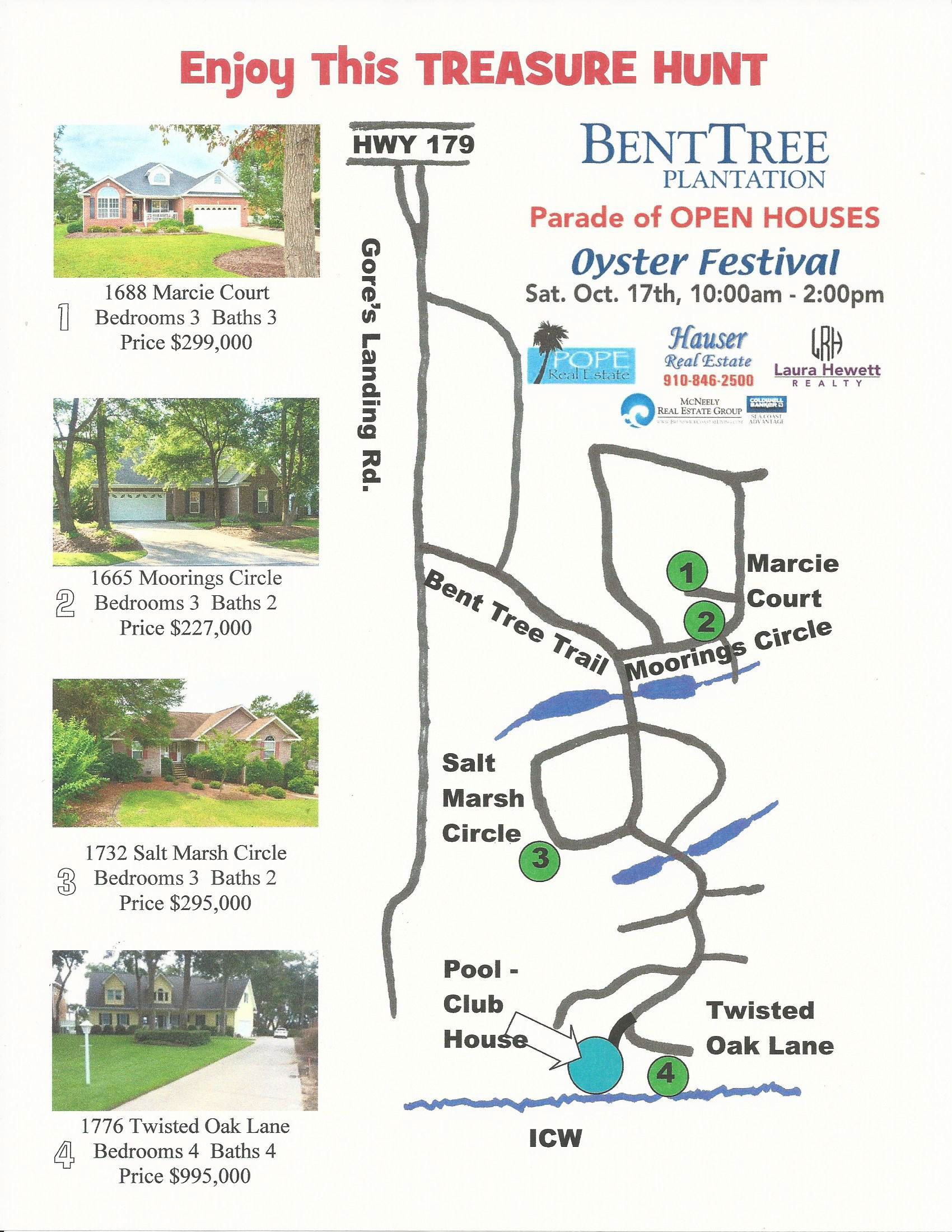 Benttree plantation open house trail today ocean isle for Nc surf fishing calendar